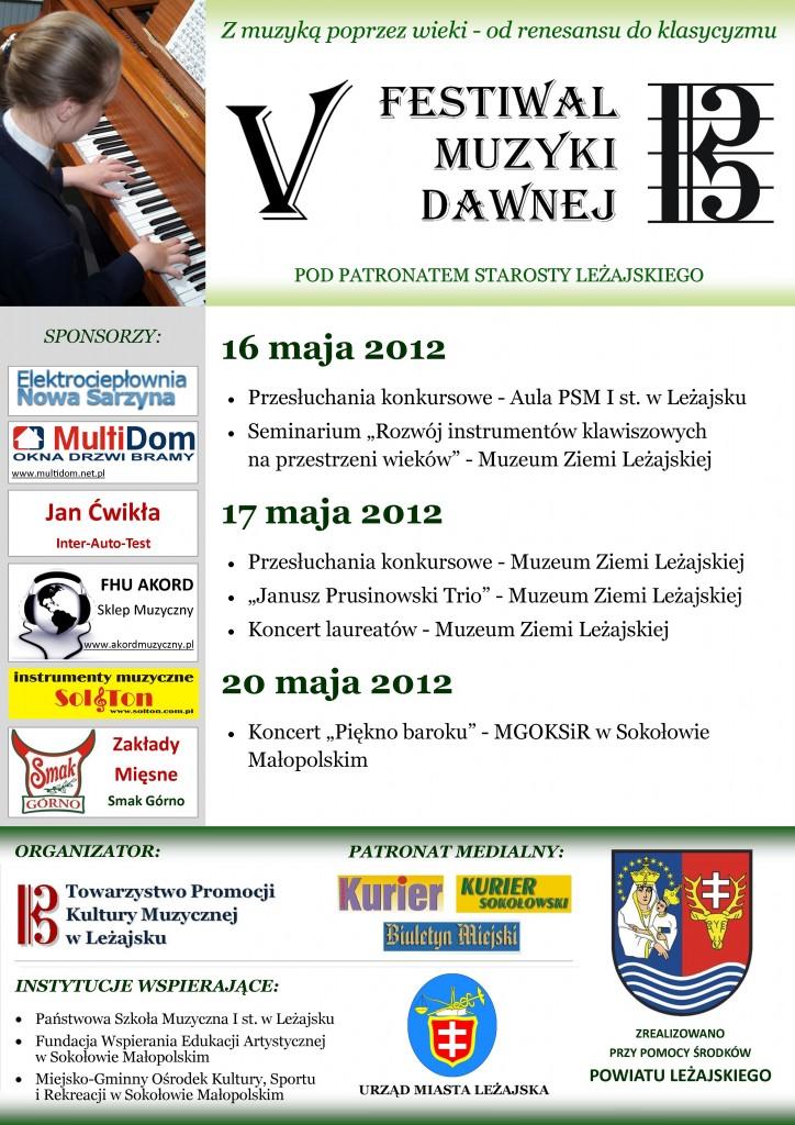 Plakat V Festiwalu Muzyki Dawnej w Leżajsku