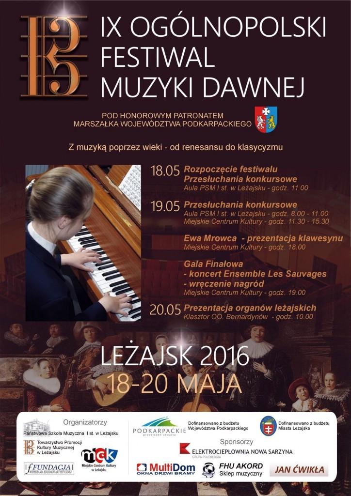 Plakat - IX Ogólnopolski Festiwal Muzyki Dawnej