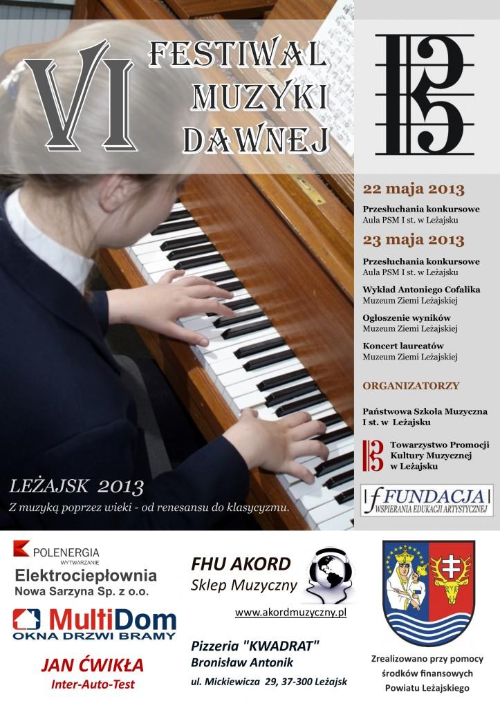 Plakat VI Festiwalu Muzyki Dawnej w Leżajsku